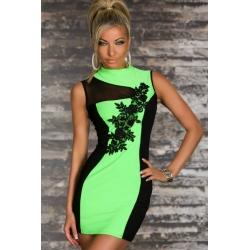 Vestido de fiesta verde bordado