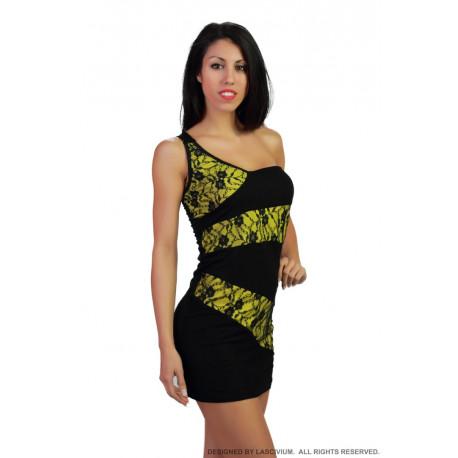 Vestido negro y amarillo blonda