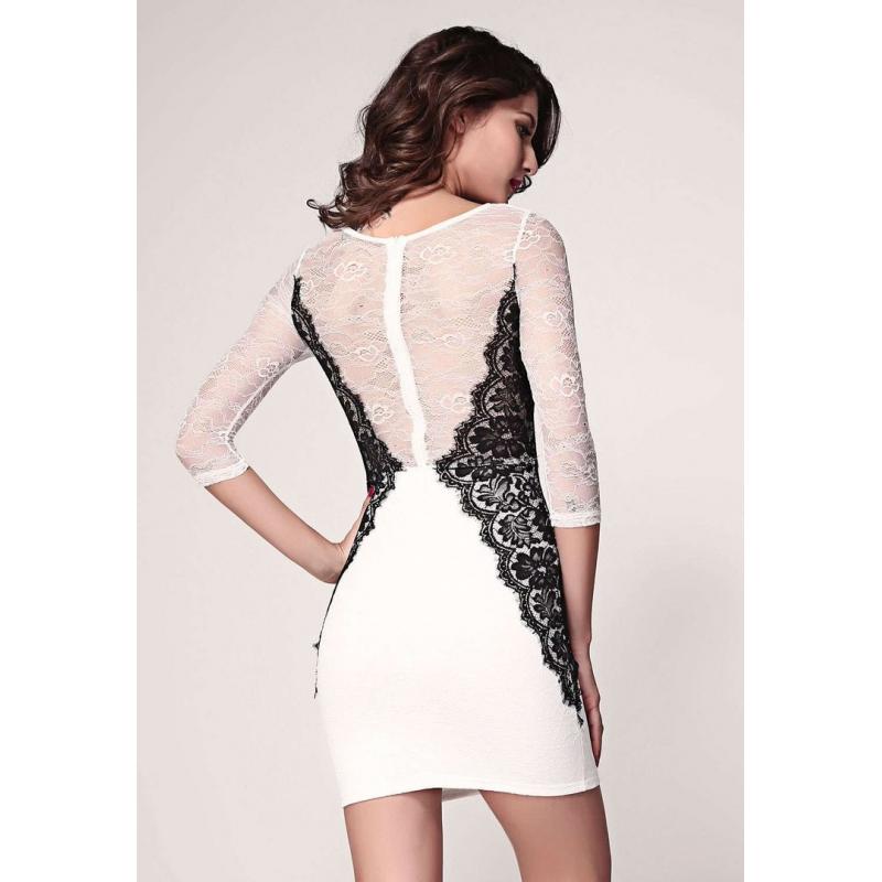 52d03dd2e Vestido coctel encaje blanco y negro - lenceria sexy