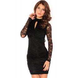 Elegante vestido encaje negro