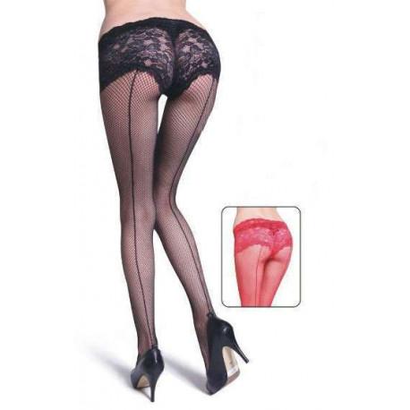 Panty de rejilla con culot de encaje negro