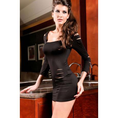 Vestido sexi negro rasgado