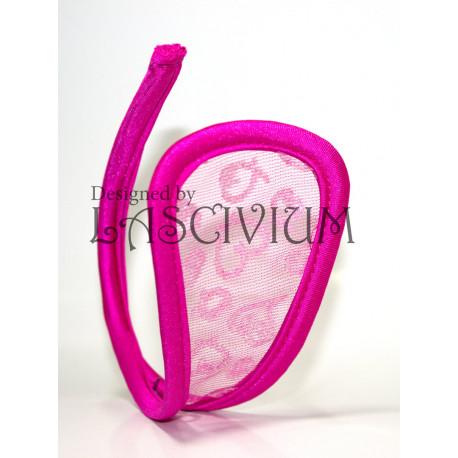 C-string fucsia corazones purpurina