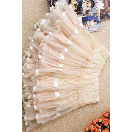 Falda elegante color crema