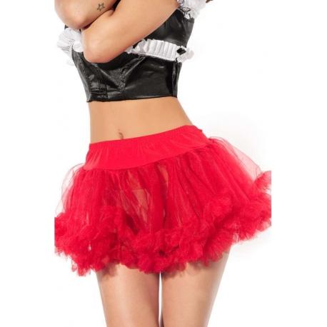 Falda sexy de tull roja extra vuelo