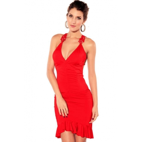 Vestido sensual rojo con encaje bordado