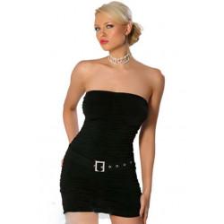 Vestido drapeado negro