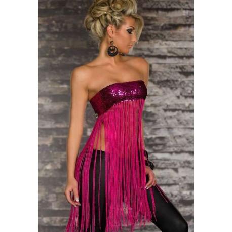 Tops sexy fashion flecos rosa