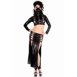 Conjunto de vinilo gotico con falda larga