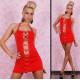 Mini vestidos Sexy correas rojo