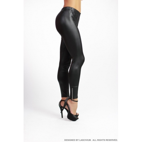 Leggings vinilo Black Zip