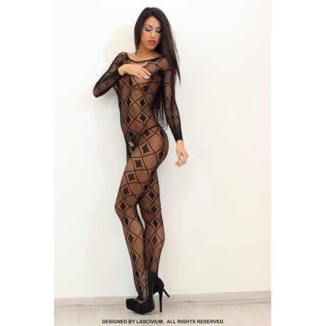 Bodystocking negro largo con rombos