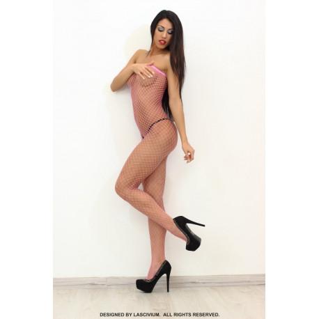 Bodystocking rosa con rejilla