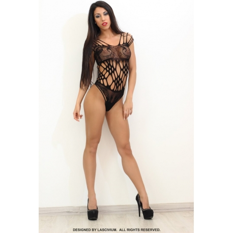 Bodystocking corto negro estilo body