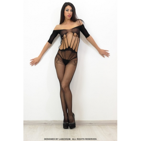 Bodystocking negro rasgado largo