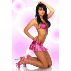 Minifalda rosa con topos blancos