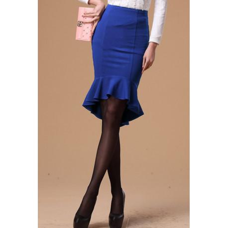 Falda lisa azul con volantes Tirza