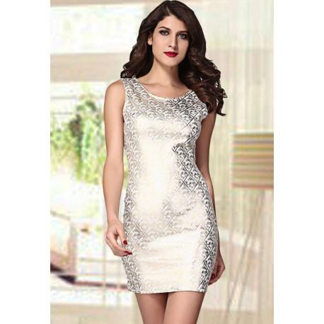 Vestido elegante blanco gold