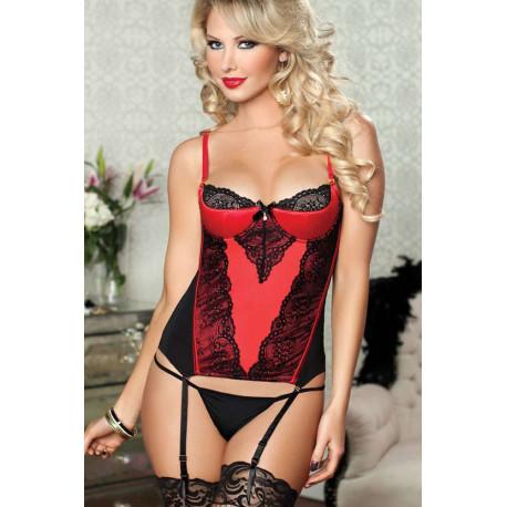 Bustier Rojo con encaje negro