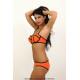 Bikini naranja con lineas negras