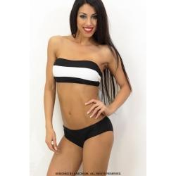 Bikini de banda blanco y negro.