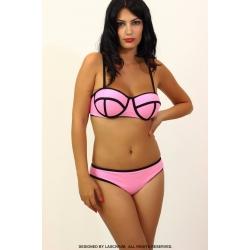 Bikini Rosa Líneas negras.