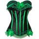 Corset negro con lazos verdes aros