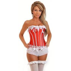 Corset rojo lazos blancos