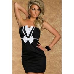 Elegante vestido negro Romy - lazo blanco Talla única -