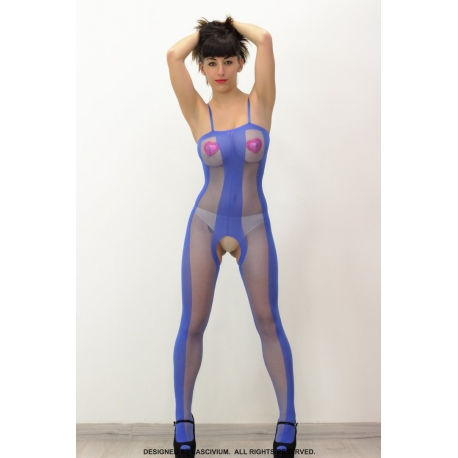 Bodystocking azul electrico semi transparente largo